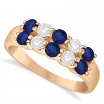 Double Row Sapphire & Diamond Ring 14k Rose Gold (1.12ct)