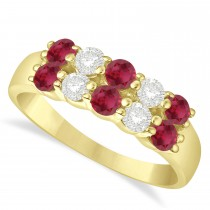 Double Row Ruby & Diamond Ring 14k Yellow Gold (1.24ct)