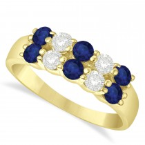 Double Row Sapphire & Diamond Ring 14k Yellow Gold (1.12ct)