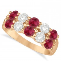 Double Row Ruby & Diamond Ring 14k Rose Gold (2.08ct)