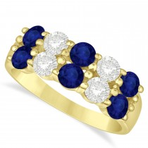 Double Row Sapphire & Diamond Ring 14k Yellow Gold (2.20ct)