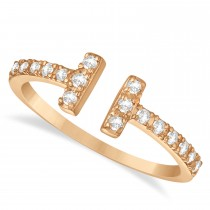 Diamond Accented T-Shape Ring 14k Rose Gold (0.25ct)
