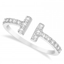 Diamond Accented T-Shape Ring 14k White Gold (0.25ct)