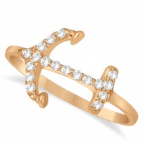 Diamond Anchor Ring 14k Rose Gold (0.16ct)