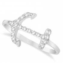 Diamond Anchor Ring 14k White Gold (0.16ct)