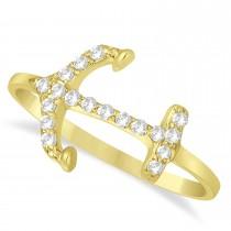 Diamond Anchor Ring 14k Yellow Gold (0.16ct)