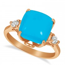 Turquoise Ring with Two Diamonds 14k Rose Gold (4.17ct)