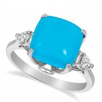 Turquoise Ring with Two Diamonds 14k White Gold (4.17ct)