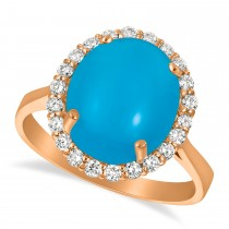 Diamond Adorned Turquoise Halo Ring 14k Rose Gold (4.42ct)