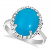 Diamond Adorned Turquoise Halo Ring 14k White Gold (4.42ct)