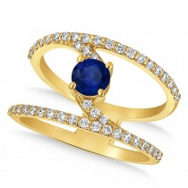 Diamond Adorned Negative Space Sapphire Ring 14k Yellow Gold (1.10ct)