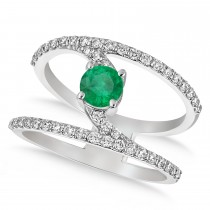 Diamond Adorned Negative Space Emerald Ring 14k White Gold (0.98ct)