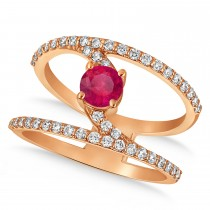 Diamond Adorned Negative Space Red Ruby Ring 14k Rose Gold (1.10ct)