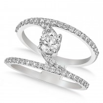 Diamond Adorned Negative Space Diamond Ring 14k White Gold (1.00ct)