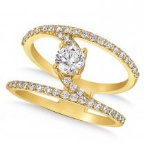 Diamond Adorned Negative Space Diamond Ring 14k Yellow Gold (1.00ct)