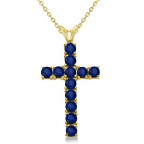 Blue Sapphire Cross Pendant Necklace 14K Yellow Gold (1.92tct)
