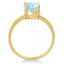 Round Cut Art Deco Aquamarine Cocktail Ring in 14k Yellow Gold (1.25ct)|escape