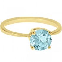 Round Cut Art Deco Aquamarine Cocktail Ring in 14k Yellow Gold (1.25ct)