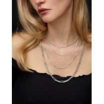 Large Paperclip Link Chain Necklace 14k White Gold