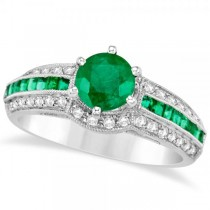 Emerald and Diamond Engagement Ring in 14k White Gold (1.62ct)