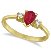 Pear Ruby and Diamond Three Stone Ring 14k Yellow Gold (0.49ct)