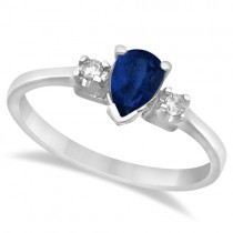 Pear Blue Sapphire and Diamond Three Stone Ring 14k White Gold (0.51ct)