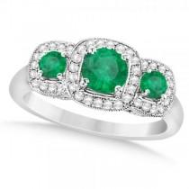 Diamond & Emerald Three Stone Fashion Ring in 14k White Gold (0.95ct)