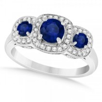 Diamond & Blue Sapphire Three Stone Fashion Ring 14k White Gold (1.10ct)