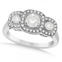 Diamond Accented Three Stone Fashion Ring in 14k White Gold (1.00ct)