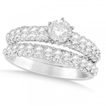 Diamond Engagement Ring Wedding Band Set in 14k White Gold (2.00ct)