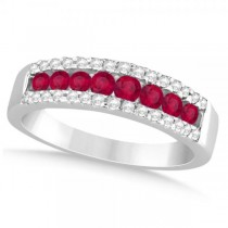Diamond Accented Ruby Wedding Band in 14k White Gold (0.78ct)