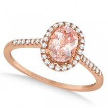 Halo Diamond and Round Morganite Ring 14k Rose Gold 0.99ct