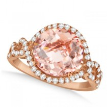 Round Morganite & Halo Diamond Ring Twisted 14k Pink Gold 3.79ct