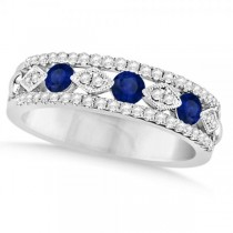 Diamond & Blue Sapphire Fashion Wedding Band in 14k White Gold (0.69ct)