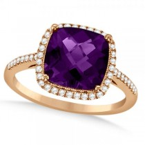 Diamond Halo Accented Amethyst Fashion Ring in 14k Rose Gold (2.84ct)