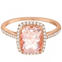 Cushion Cut Morganite and Diamond Halo Ring 14K Rose Gold 2.00ct|escape
