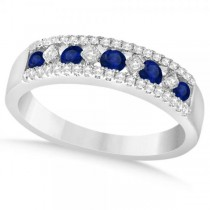 Diamond & Blue Sapphire Wedding Band in 14k White Gold (0.66ct)