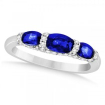 Diamond & Blue Sapphire Fashion Ring in 14k White Gold (1.81ct)