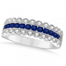 Diamond & Blue Sapphire Wedding Band in 14k White Gold (0.87ct)