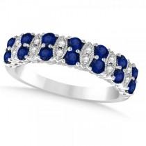 Diamond & Blue Sapphire Wedding Band in 14k White Gold (0.90ct)