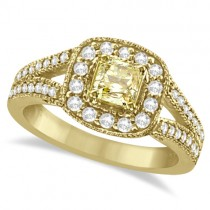 Yellow Diamond Radiant Millgrain-Edge Ring 18k Yellow Gold (0.90ct)