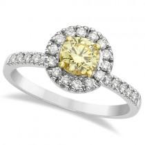 Halo Round Yellow Diamond Engagement Ring 14k White Gold (0.85ct)