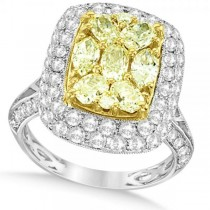 Yellow & White Diamond Fashion Ring in 18k Two Tone Gold (2.90ct)