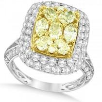 Yellow & White Diamond Fashion Ring in 18k Two Tone Gold (2.90ct)