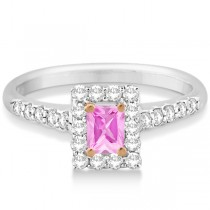 Halo Radiant Cut Pink Diamond Engagement Ring 14K W. Gold 0.70ct