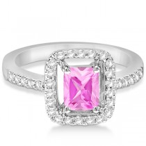 Halo Radiant Cut Pink Diamond Engagement Ring 18K White Gold 1.25ct