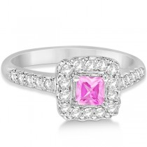 Square Halo Enhanced Pink Diamond Engagement Ring 14K White Gold .75ct
