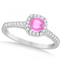 Enhanced Pink Diamond Engagement Ring W/ Halo Accents 14K Gold 0.66ct