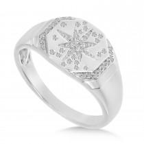 Diamond Starburst Signet Ring 14K White Gold (0.14ct)