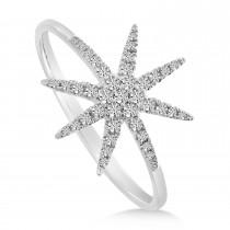 Diamond Starburst Ring 14K White Gold (0.18ct)